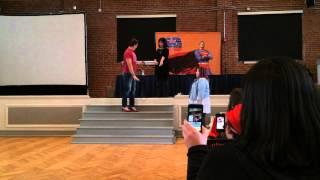 John Barrowman teaches a woman to walk in heels