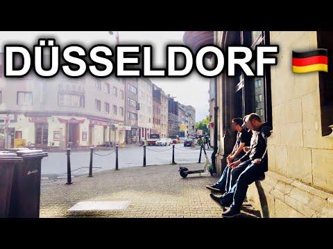 [4K] Walk in Düsseldorf Germany - Main Station to Rhine River Summer 2020