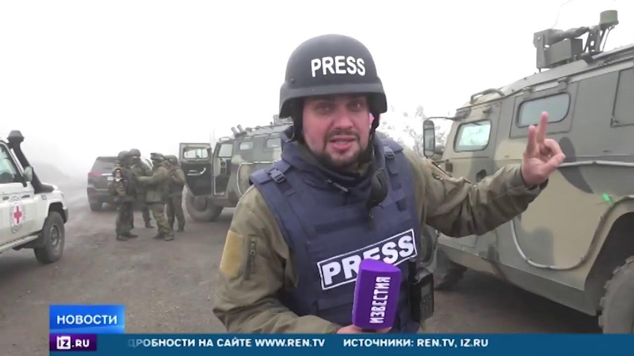 Кадры выхода колонны азербайджанский военных из Шуши 19.11.2020