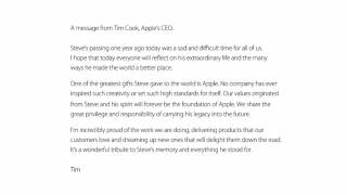 A Message From Tim Cook, Apple's CEO 5.10.11/12