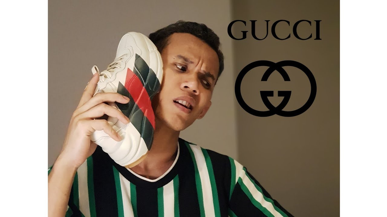 cca4086c404 GUCCI Rhyton Web print leather sneaker Unboxing and Reviews - YouTube