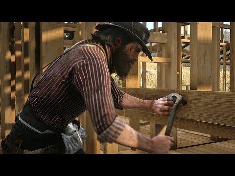 Red Dead Redemption 2 - John Marston & Gang Building House Cutscene (RDR2 2018)