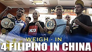 FILIPINO BOXERS SALUDAR, GOMERA, KATIANDAGHO & FAJARDO MAKES WEIGHT IN QINGDAO CHINA 7/26/2018