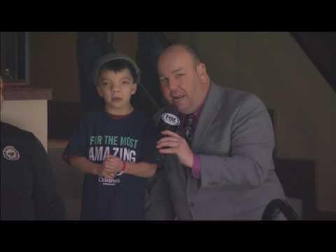 Obadiah Gamble with Children's Hospital Minnesota talks during a Minnesota Wild goal!