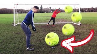 GIANT TENNIS BALL FOOTBALL CHALLENGE!!