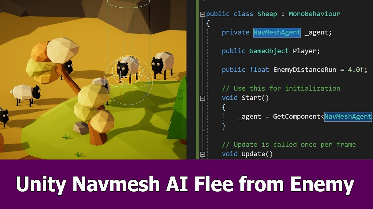 Unity Navmesh AI Tutorial : Flee from Enemy
