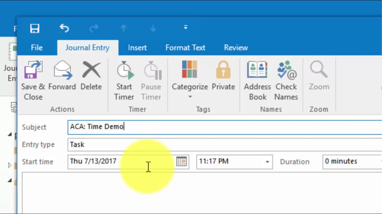 Where to Find the Task Timer in Outlook 2013 & 2016