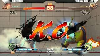SSF4 AE2012 Top 8 Infiltration vs EG Ricky Ortiz - Final Round XVI Tournament