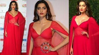 Hot Sonam Kapoor in Deep Neck Red Dress at Hall Of Fame Awards