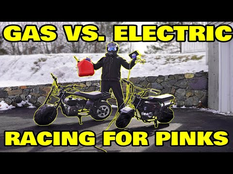 Racing DIY electric mini super bike vs Gas, Winner Takes All!