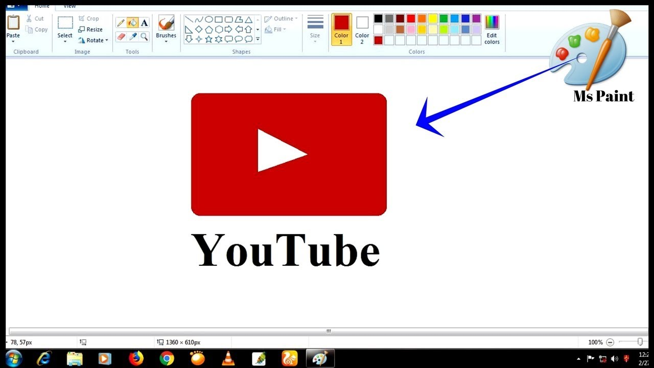 Ms Paint Drawing Video How To Draw Youtube Play Button In Ms Paint
