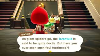 What happens when you donate a tarantula to Blathers: Animal Crossing New Horizons (ACNH)