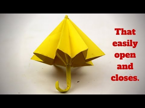 How To Make Paper Umbrella- That easily open and closes   DIY Arts and Crafts idea