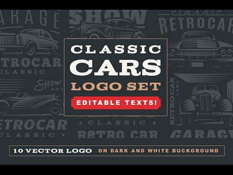 Classic cars logo in Logo Templates on Yellow Images