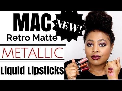 NEW! Fall 2017 MAC Retro Matte METALLIC Liquid Lipsticks~1st Impressions, Review & LIP SWATCHES! WOC