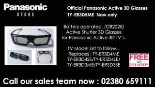 TYER3D4ME / TY-ER3D5MA Panasonic 3D Glasses for CX802, CX400, Panasonic Viera 3D Television.