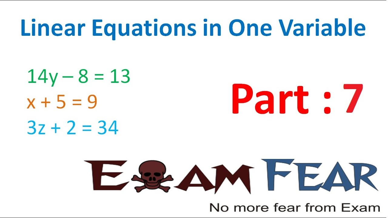 Maths Linear Equation In 1 Variable Part 7 Questions