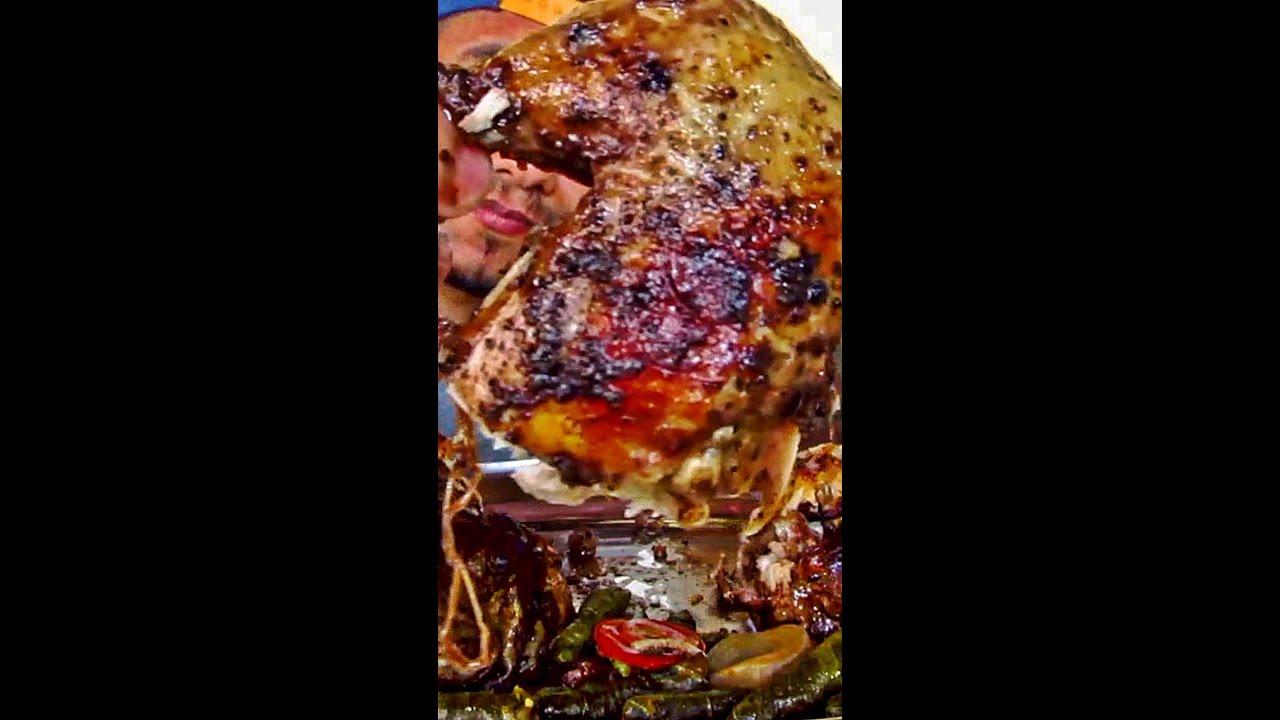 تحدي أكل دجاجتين محمرين محشيين ورق عنب بوزن 4 كيلو | chicken challenge 4kg
