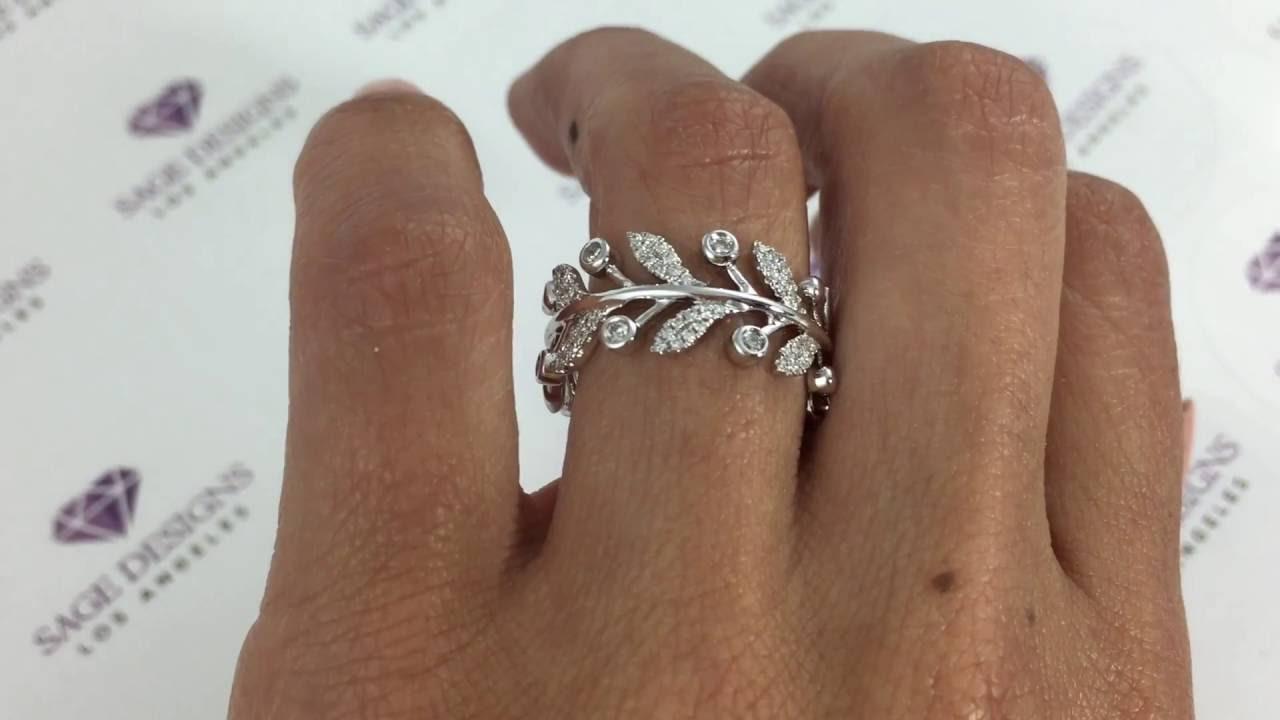 Womens 14k White Gold Greek Roman Round Diamond Cocktail Leaf Wedding Ring  Band