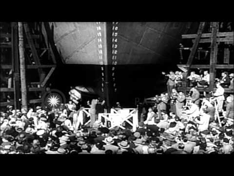 Robert Montgomery, Clark Gable and Irene Dunne at the launch of the victory ship ...HD Stock Footage