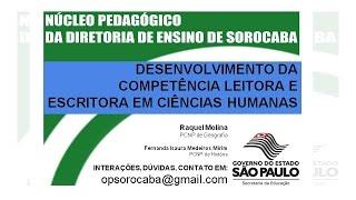 Videoconferência - Proficiência Leitora em Ciências Humanas - 08/2015
