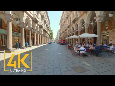 Turin Virtual Walking Tour in 4K - Turin City Travel Guide