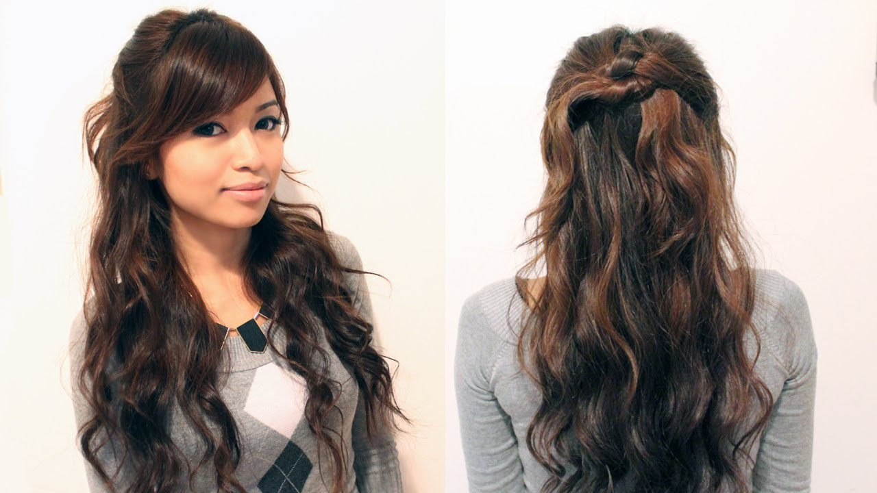 Cute Hair Styles For Medium Hair: Easy Holiday Curly Half-Updo Hairstyle For Medium Long