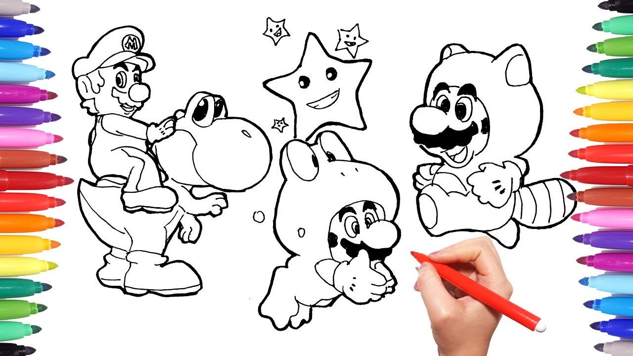 Super Mario And Yoshi Coloring Pages For Kids How To Draw Super