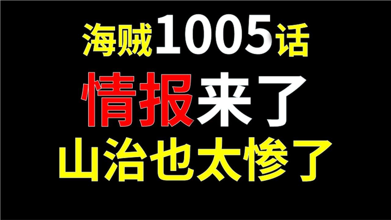 【阿旺】海贼王1005话情报来了!山治也太惨了!