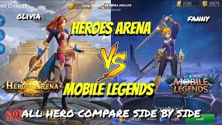 MOBILE LEGENDS VS HEROES ARENA - MOBA 5VS 5 HERO ANIMATION TRAILER COMPARE SIDE BY SIDE Hero Battle