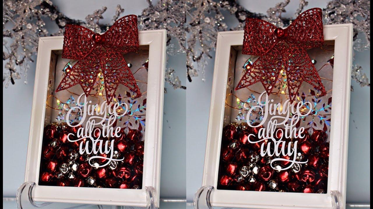 diy jingle bell christmas shadow box decor 2 youtube. Black Bedroom Furniture Sets. Home Design Ideas