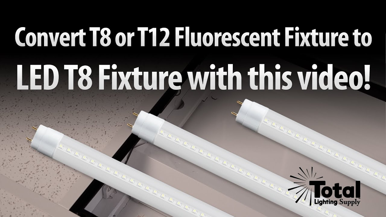 Convert T8 or T12 Fluorescent Tube Light to LED T8 retrofit from Total Lighting Supply  YouTube