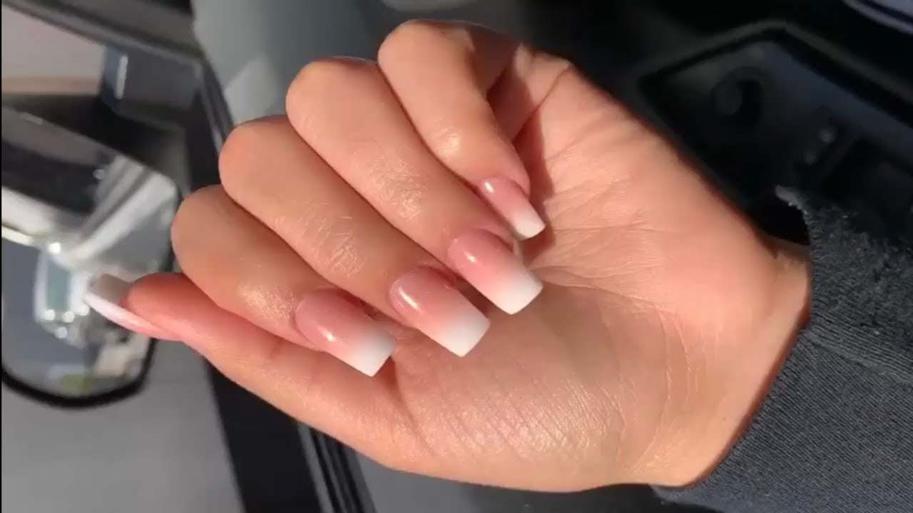 Short Square Pink And White Ombré Acrylic Nails