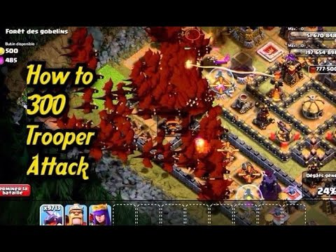 Clash of Clans  -  300 Dragons, Witches, Golems, Giants, Pekkas, Hog riders Attack