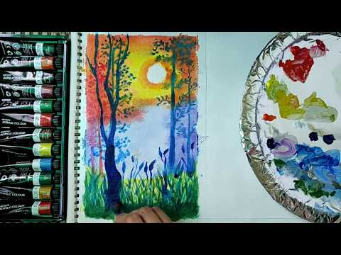 Acrylic painting of forest for beginners | step by step forest landscape painting tutorial 2020