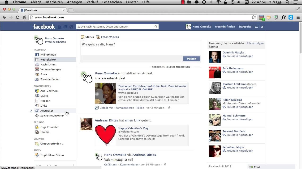 Facebook Anstupsen Sehen