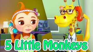 Five little Monkeys Jumping on the Bed - Nursery Rhyme for Kids - Jugnu Kids
