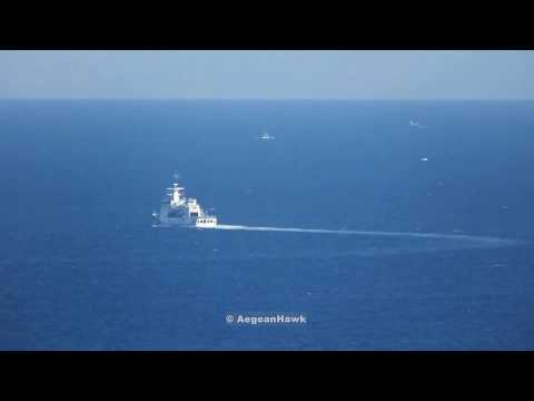 Turkish Coast Guard TCSG 702 Guven southeastbound in Chios Strait.