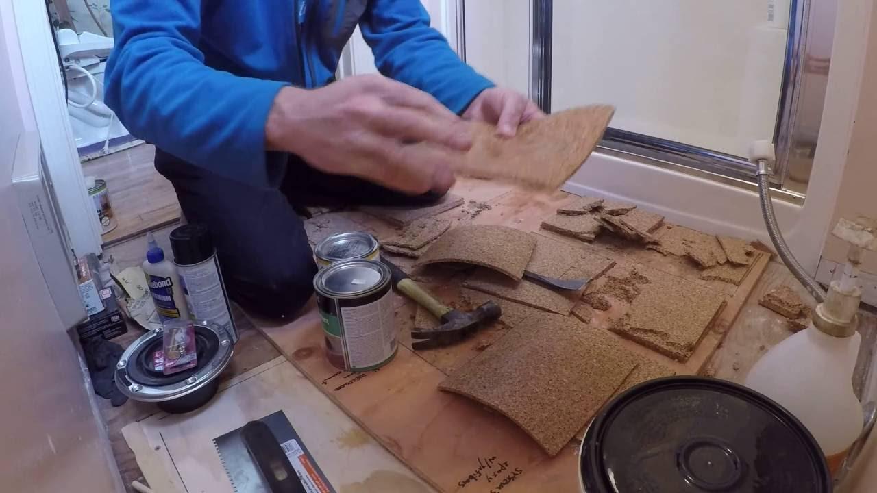Diy Cork Floor For Bathroom With Cheap Underlayment Sealant Demo Youtube