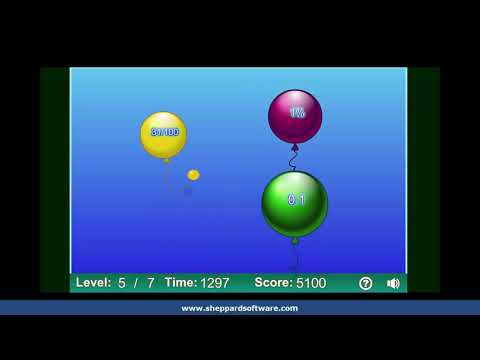 Comparing Percents,  Fractions & Decimals - Balloon Pop Math Game