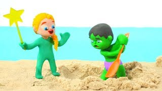 SUPERHERO BABIES PLAY WITH SAND ❤ Spiderman, Hulk & Frozen Play Doh Cartoons For Kids