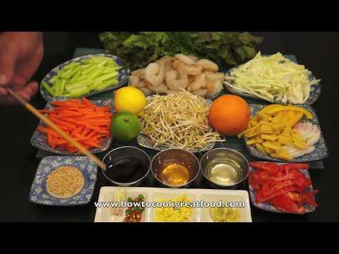 Chinese Shrimp Salad Recipe - Lime Honey Lemon Grass Dressing