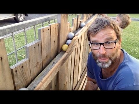 Ball Run Fun! Great Backyard Pallet Wood Project!