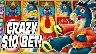 OMG HUGE $10 BET BY ACCIDENT!!! ★ BIG WIN!!! ★ SLOT MACHINE BONUS