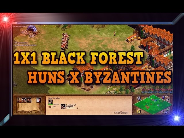 Age of Empires 2 HD 1x1 Black Forest Huns X Byzantines AoE2HD Gameplay PT BR