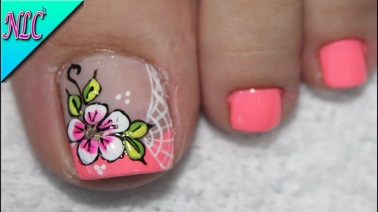 Diseño De Uñas Para Pies Flores Sencillas Flowers Nail Art Nlc