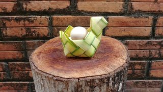Hướng dẫn đan giỏ hình thú bằng lá dừa