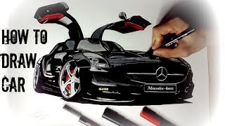 HOW TO DRAW A CAR - MERCEDES-BENZ SLS AMG ᴴᴰ