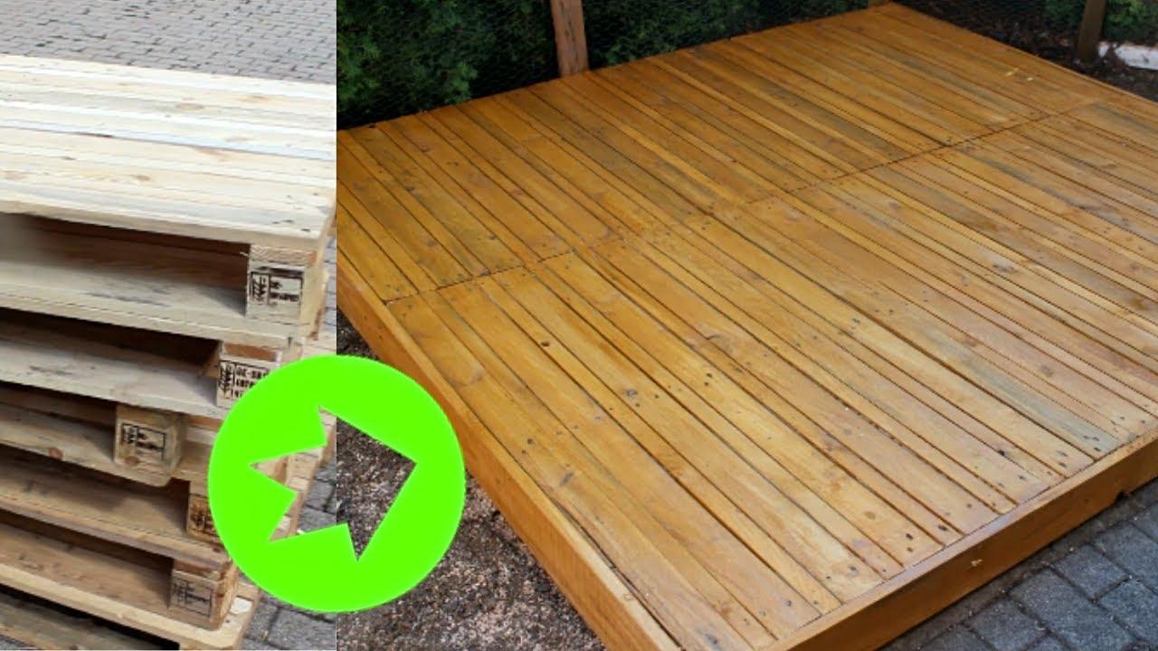 Holzdeck selber bauen [ DIY ,aus alten Paletten]