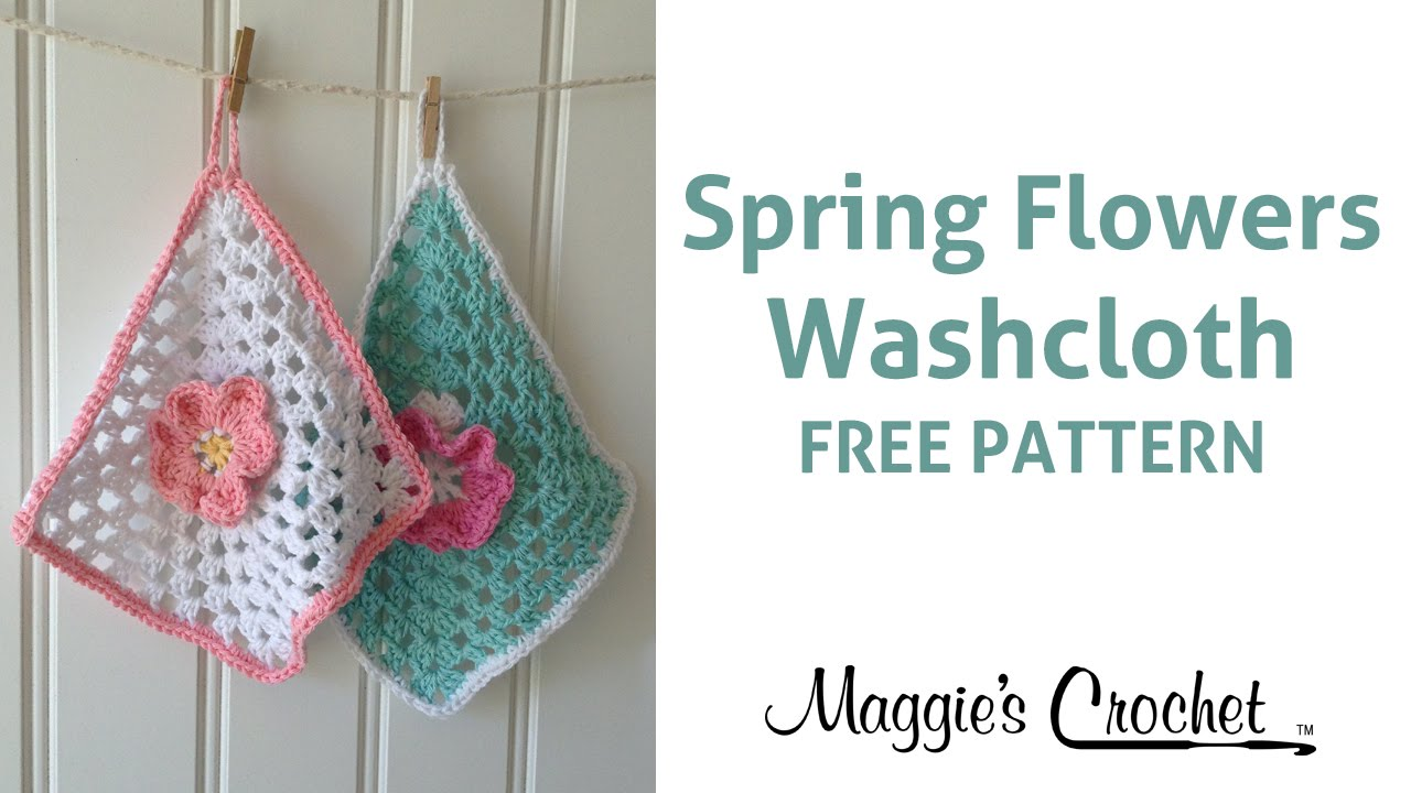 Spring Flowers Dishcloth Free Crochet Pattern - Right Handed - YouTube